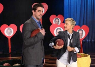 "Illustration for article titled Aaron Rodgers's ""Celebrity Crush"" Is Ellen DeGeneres"