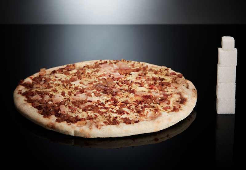 Una pizza barbacoa tamaño individual contiene el equivalente a 4,2 terrones de azúcar.