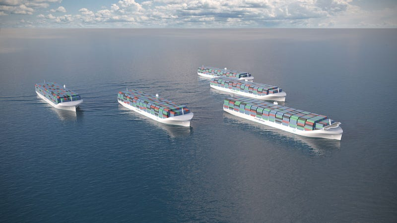 Illustration for article titled Rolls-Royce Is Designing Giant Drone Ships to Sail the High Seas