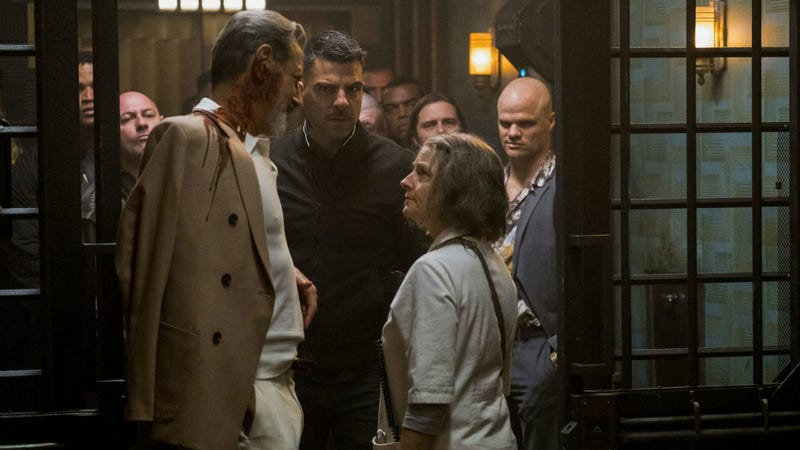 Jodie Foster runs a futuristic hospital for criminals in Hotel Artemis. And yes, that's Jeff Goldblum and Zachary Quinto, too.