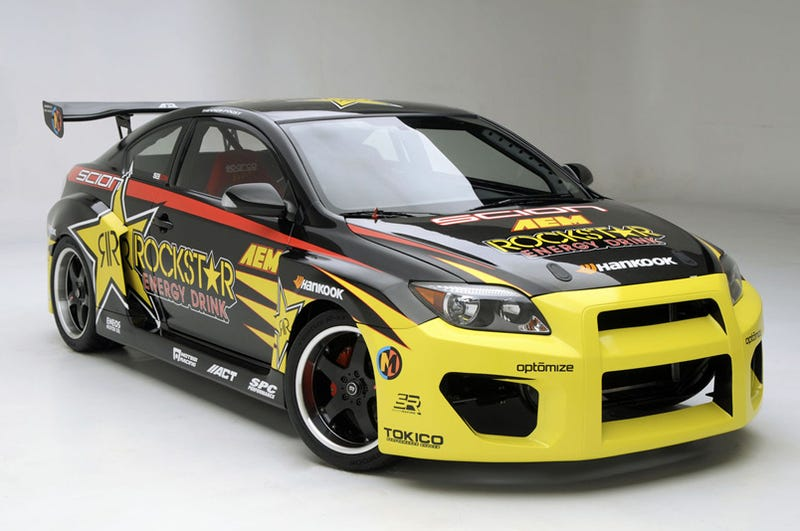 Illustration for article titled Tanner Foust's Scion tC Drift Car: V8-Powered, RWD, Ridiculous