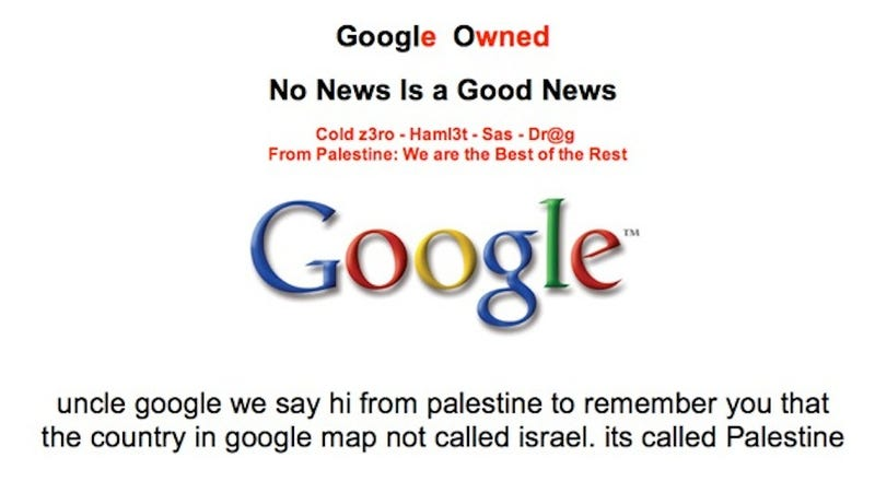 Illustration for article titled Hackers Hit Google Palestine and Defaced the Front Page