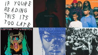 Top row: If You're Reading This It's Too Late, by Drake; Trapsoul, by Bryson Tiller; Ego Death, by the Internet. Bottom row: Choose Your Weapon, by Hiatus Kaiyote; Woman, by Jill Scott; To Pimp a Butterfly, by Kendrick Lamar.Amazon.com