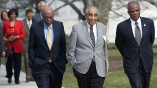 Members of the Congressional Black Caucus, including Rep. Charles Rangel (center), on the North Lawn of the White House in 2010, after meeting with President Barack ObamaSAUL LOEB/AFP/Getty Images