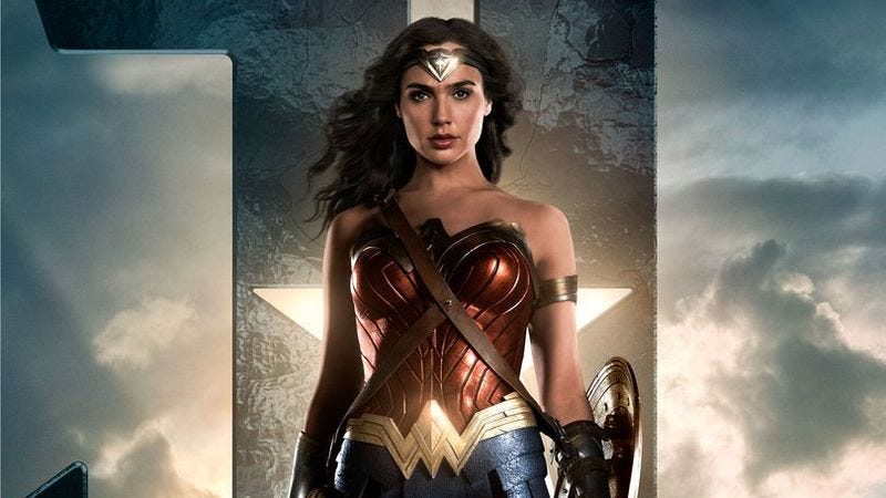 Illustration for article titled Wonder Woman takes an awkward stance in new Justice League character poster