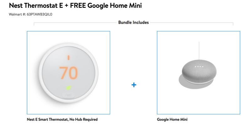 Nest Thermostat E + Google Home Mini | $169 | Walmart