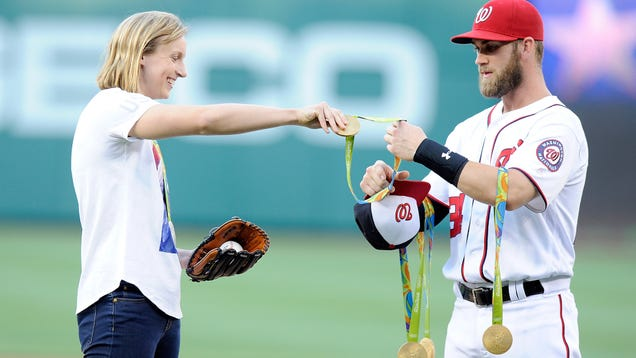 Katie Ledecky Turned Bryce Harper Into A Medal Rack