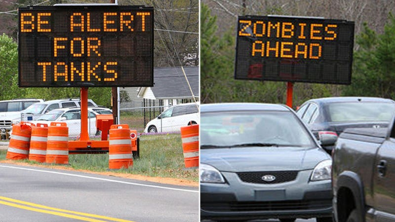 Illustration for article titled Hacked road signs warn of hunters, zombies and tanks