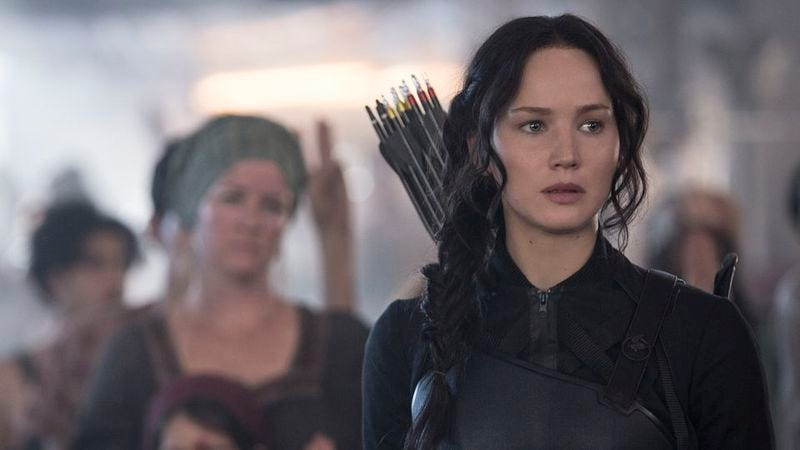 Jennifer Lawrence, unsullied, in The Hunger Games: Mockingjay—Part 1
