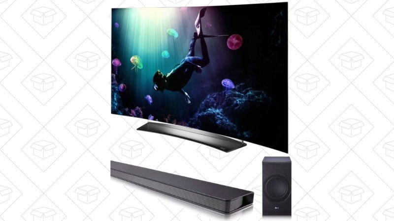 LG 55'' OLED 4K TV curvada + Barra de sonido LG, $1694 con código