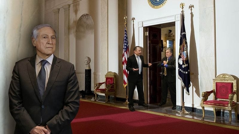 Illustration for article titled White House In Chaos: The Chilean Foreign Minister Had To Wait In The Hallway For 3 Hours While Reince Priebus And Steve Bannon Argued About Who Gets To Wear Their One Belt