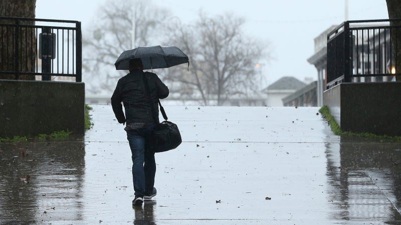 Rain fell in Sacramento on Wednesday, as an atmospheric river delivers moisture up and down the state.