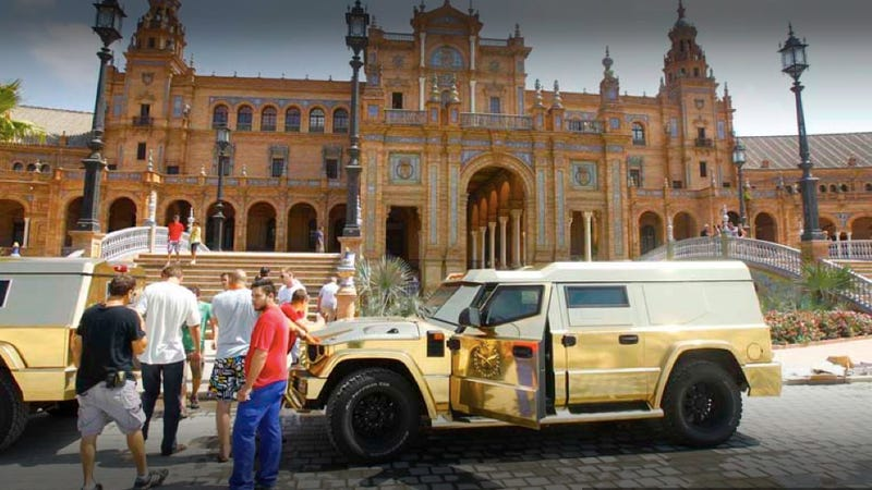 """Illustration for article titled This is Sasha Baron Cohen's gold-plated SUV from """"The Dictator"""""""