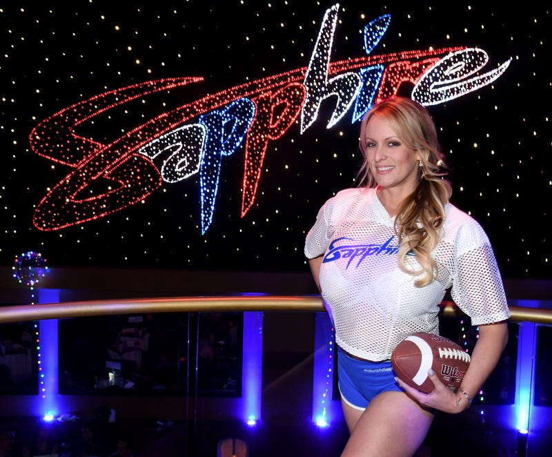 Adult film actress-director Stormy Daniels hosts a Super Bowl party at Sapphire Las Vegas Gentlemen's Club on Feb. 4, 2018, in Las Vegas. (Ethan Miller/Getty Images)