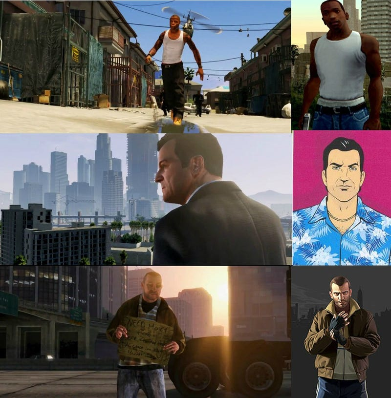 Illustration for article titled One Image Makes the Case that GTA V Features Our Favorite GTA Antiheroes
