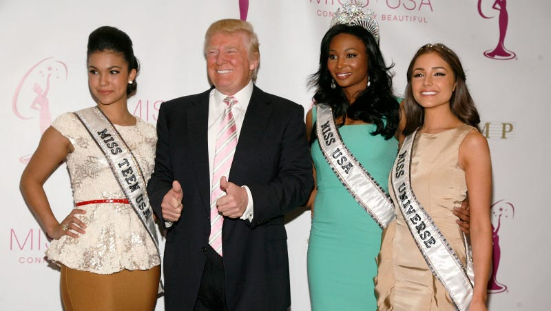 Miss Teen USA Logan West, Donald Trump, Miss USA Nana Meriwether and Miss Universe Olivia Culpo attend the crowning ceremony of the new Miss USA at Trump Tower on January 9, 2013 in New York City.  Photo via Getty