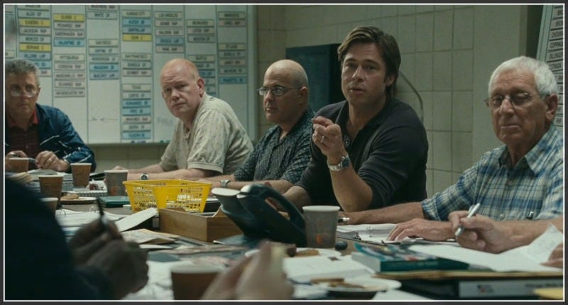 Billy Beane (Brad Pitt), general manager of the Oakland A's, challenged conventional wisdom about recruitment strategies in major league baseball. The pharmaceutical industry could benefit from a similar approach. (Image: Moneyball, 2011.)