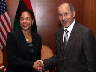 UN Ambassador Susan E. Rice with Libya's NTCChief Mustafa Abdel Jalil (Mahmud Turkia/AFP/Getty Images)