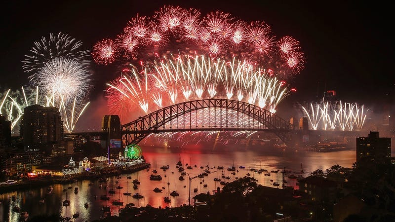 Fireworks explode over the Sydney Harbor Bridge during the midnight display on New Year's Eve on January 1, 2019 in Sydney, Australia, as the city is one of the first to ring in the new year.