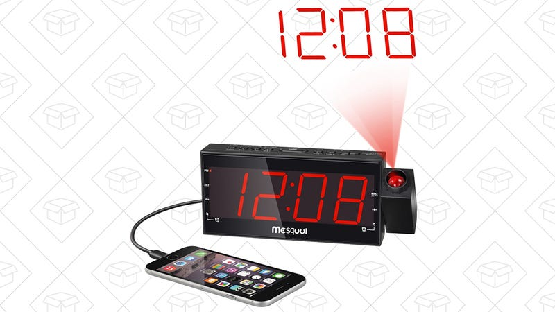Mesqool AM/FM Projector Alarm Clock With USB Charger, $19 with code 3LOH2GFV