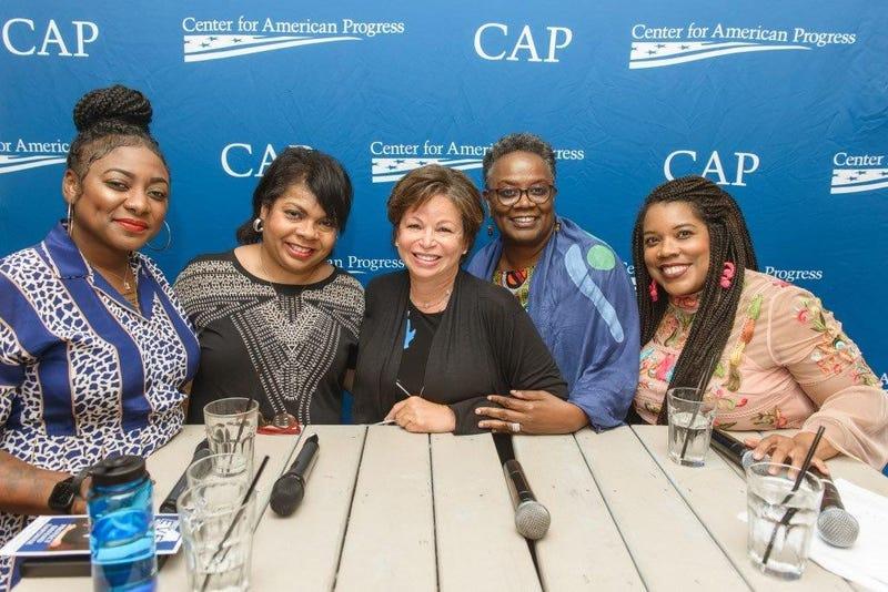 (L-R) Activist Alicia Garza, journalist April Ryan, former White House senior advisor Valerie Jarett, scholar Dr. Renita Weems, and The Root Editor-in-Chief Danielle Belton.