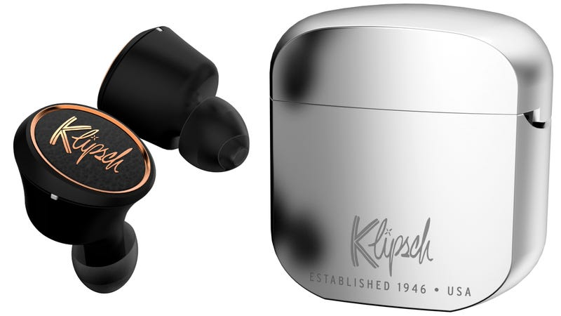 Illustration for article titled Klipsch's New Wireless Earbuds Are Wooing Me With a Zippo-Like Charging Case