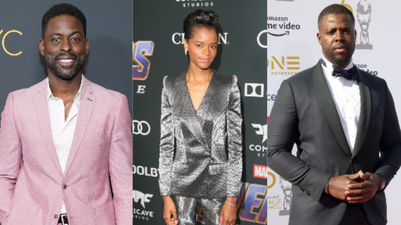 "Sterling K. Brown, left, attends 20th Century Fox Television and NBC Present ""This Is Us"" FYC Event on June 06, 2019 in Hollywood, California. ; Letitia Wright attends the Los Angeles World Premiere of Marvel Studios' ""Avengers: Endgame"" on April 23, 2019 in Los Angeles, California. ; Winston Duke attends the 50th NAACP Image Awards on March 30, 2019 in Hollywood, California."