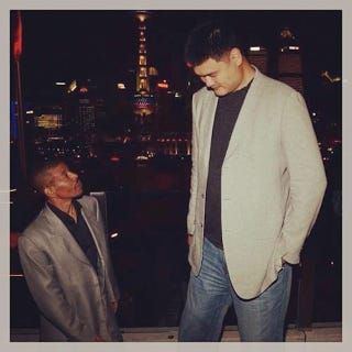 Illustration for article titled The World Needs This Picture Of Yao Ming Standing Next To Muggsy Bogues