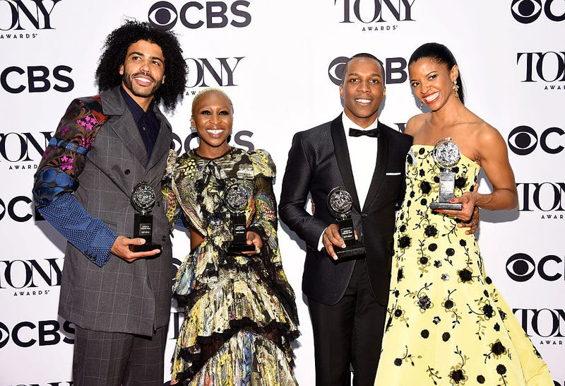 Actors Daveed Diggs, Cynthia Erivo, Leslie Odom Jr. and Renée Elise Goldsberry pose in the press room at the 70th annual Tony Awards at the Beacon Theatre on June 12, 2016, in New York City.Mike Coppola/WireImage