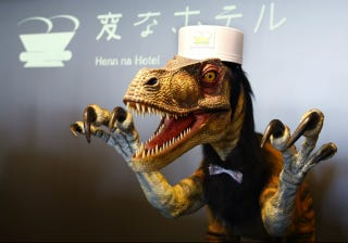 Illustration for article titled Behold, a Real Hotel Staffed By Talking Androids and Robotic Dinosaurs