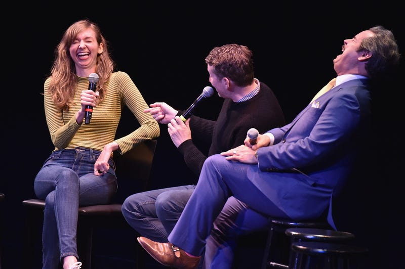 Lauren Lapkus (left) and Paul F. Tompkins (right) are both in the podcast Bad Reception. Scott Aukerman (center) is not.