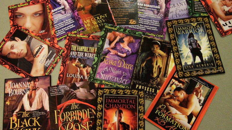 Did you know there were romance novel trading cards? Today we learned there are romance novel trading cards.
