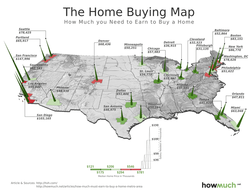 How Much You Have To Make To Buy A Home In Major US Cities - Us map with big cities
