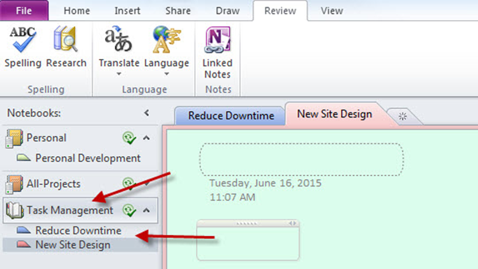 how to create page break in onenote