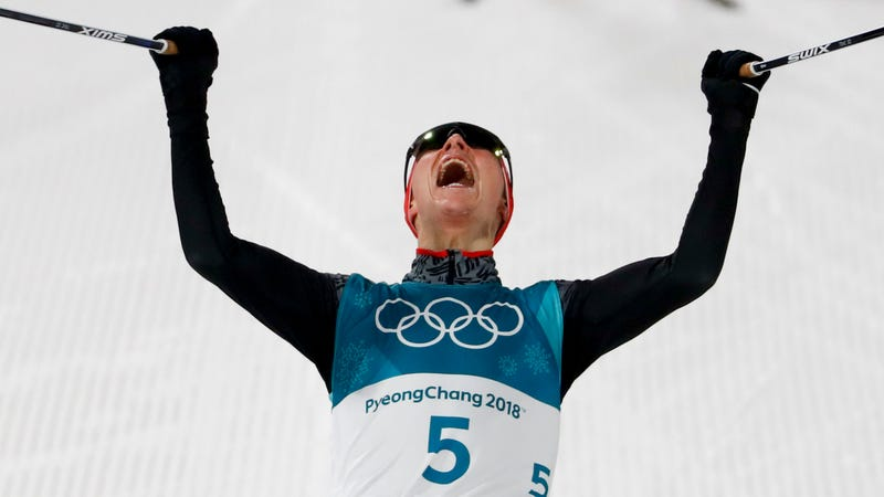 Eric Frenzel, of Germany, celebrates after winning the the gold medal at the 2018 Winter Olympics in Pyeongchang, South Korea. (Photo: AP)