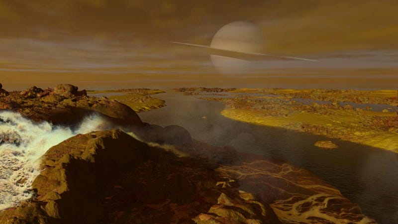 Illustration for article titled Gorgeous illustrations of what it would look like to stroll along Titan's methane rivers