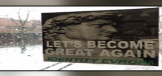 """Recruitment fliers for """"Identity Evropa,"""" which were recently posted across the University of Massachusetts, Boston campus (screenshot)"""