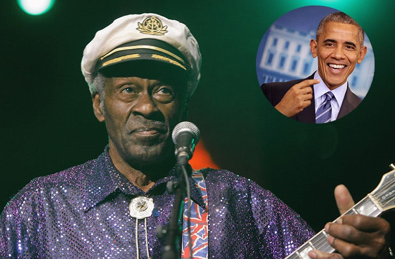 Chuck Berry (Francois Durand/Getty Images); Barack Obama, inset (Chip Somodevilla/Getty Images)