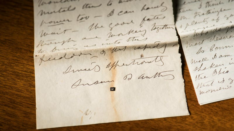 Letter from Susan B. Anthony to Isabella Beecher Hooker, April 9, 1874. Photo by J. Adam Fenster, courtesy of the University of Rochester.