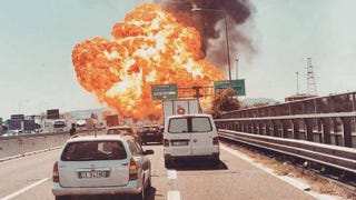 Illustration for article titled Tanker truck explodes after collision in Italy, bridge collapses.