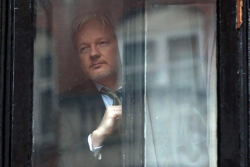 Wikileaks founder Julian Assange in the Ecuadorian embassy in London in a file photo from February 5, 2016 (Photo by Carl Court/Getty Images)