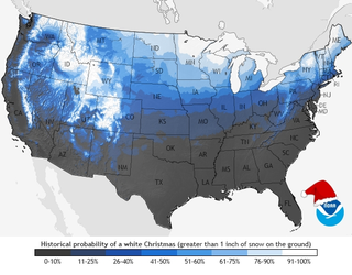 Illustration for article titled Here's Where NOAA Thinks We'll Have A White Christmas