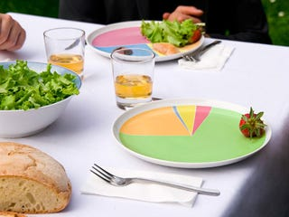 Illustration for article titled Pie Chart Plates Keep You Eating Right (Or Wrong)