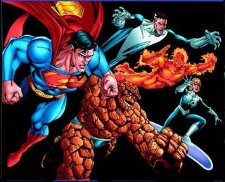 Illustration for article titled Who has the best knockoffs and parodies: Superman or the Fantastic Four?