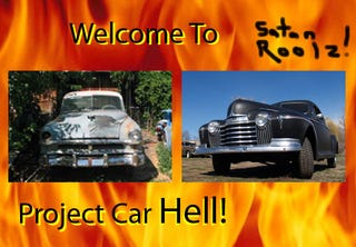Illustration for article titled Project Car Hell: 1952 Chrysler Saratoga Or 1941 Oldsmobile Coupe?