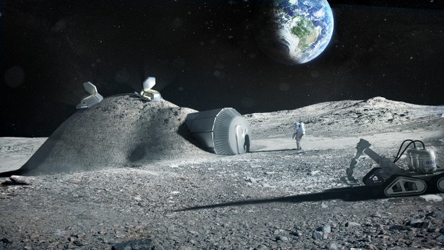 A fake picture of a moon society.