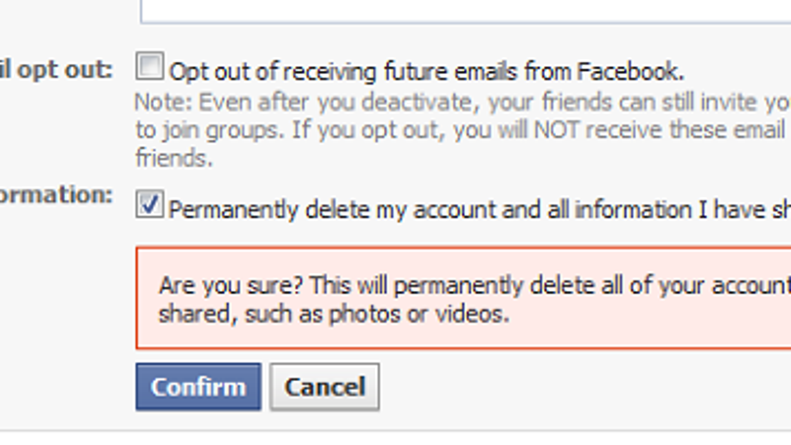 Facebook testing permanent account deletion ccuart Image collections