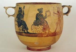 Kabeirion (Thebes), the Judgment of Paris, circa 400 B.C. Black-figure skyphos; height, 20.5 cm; diameter, 21.6 cm.Museum of Fine Arts, Boston