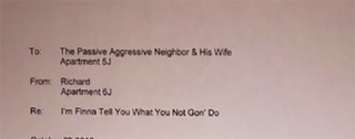 Image of letter written by Richard Brookshire  to passive-aggressive complaining neighborsFacebook