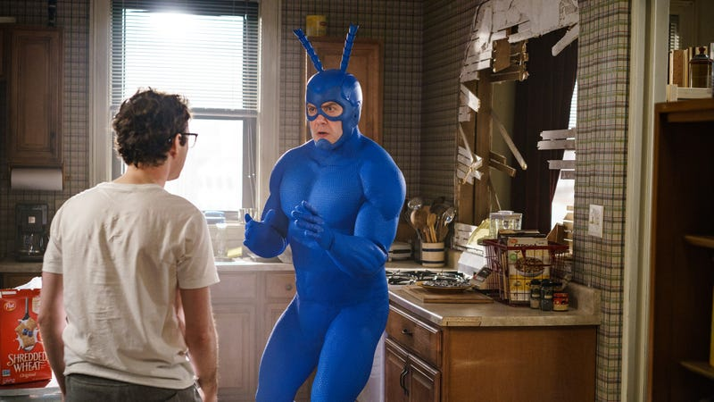 Griffin Newman and Peter Serafinowicz star in The Tick